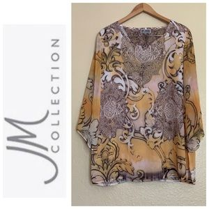 JM Collection blouse with wide sleeves